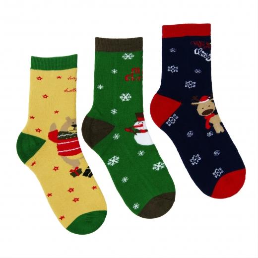 Skarpety dziecięce frotte z powierzchnią antypoślizgową  świąteczny 3-pak